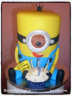 3D Minion cake (Decor available for sale separately)  For orders and more info email Sweetartbfn@gmail.com or call 0712127786.  www.facebook.com/SweetArtCakesBfn