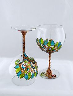 Vin gobelets vin verres cristal mariage verres peint à la main
