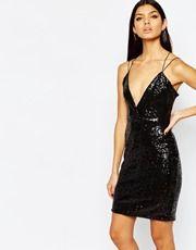Club L - Mini robe ornée de sequins avec effet croisé devant