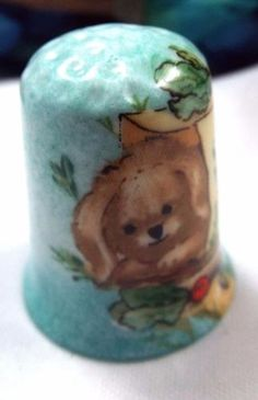 Miniature-Hand-Painted-Puppy-Thimble-Porcelain-Bone-China-Signed-Rare-Italy