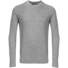 Daniele Alessandrini crew neck jumper (865 BRL) ❤ liked on Polyvore featuring men's fashion, men's clothing, men's sweaters, grey, mens wool sweaters, mens crewneck sweaters, mens grey sweater, mens gray sweater and men's grey crew neck sweater