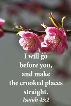 I will go before you, and make the crooked places straight. Isaiah 45:2