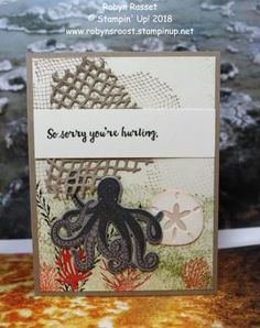 This card was created with inspiration from the DSC challenge. The theme was sea inspired and the Sea of Textures stamp set and matching die was perfect for this challenge. Octopus Card, Sea Texture, Umbrella Cards, Nautical Cards, Stampin Up Cards, Men's Cards, Ocean Themes, Get Well Cards, Animal Cards