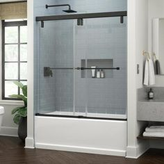 Delta Lyndall 60 x in. Frameless Mod Soft-Close Sliding Bathtub Door in Matte Black with in. mm) Clear - The Home Depot Bathtub Shower Doors, Glass Shower Panels, Glass Bathtub Door, Shower Door Handles, Custom Shower Doors, Custom Glass, Sliding Glass Door, Glass Doors, Clear Glass
