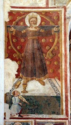 Matteo da Gualdo - Volto santo di Lucca e un devoto - 1474 - Chiesa di San Francesco, Gualdo Tadino (Umbria): Lucca, Bearded Lady, Eucharist, Corpus Christi, 14th Century, Crucifix, Catholic, San Francesco, Painting