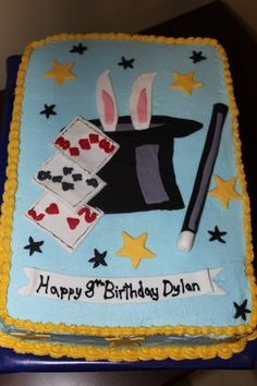 Magician Cake - Did this cake for a kids 8th bday party they where having a magic show, bc with fondant accents