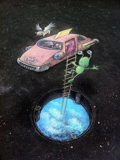 70+ Sidewalk Chalk Art Of Sluggo By David Zinn   Amazing Street Art Collection