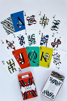 typographic playing cards by Christina Schmanske. I like how the ace, joker, queen and king have coloured backgrounds to make them special and different to the majority of the cards. Cool Playing Cards, Joker Playing Card, Joker Card, Playing Card Games, Cool Cards, Playing Card Design, Haus Of Cards, Rick And Morty Poster, Deck Of Cards