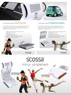 Scossa  Gamme professionnel et particulier de plateforme vibrante - réalisation du design du produit, graphisme print et web.  (réalisation en groupe)  (Amandine Leplat)