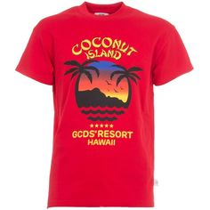 Gcds Coconut Island T Shirt (2.440.835 VND) ❤ liked on Polyvore featuring tops, t-shirts, gcds, pink tee, pink t shirt and pink top