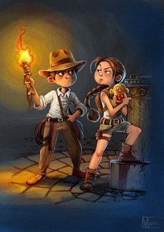 Lara Croft, Blade Runner Art, Indiana Jones 1, Batman Painting, Henry Jones, Glitch Wallpaper, Bts Girl, Cartoon Crossovers, Harrison Ford
