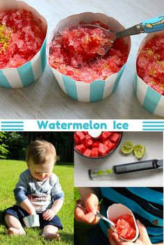 A HEALTHY alternative to a slush puppy/snow cone. Watermelon ice - only two ingredients and so easy to make. Great for the kids.