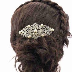 Pretty-Pearl-Flower-Hair-Comb-Piece-Rhinestone-Crystals-Wedding-Jewelry-1456R1