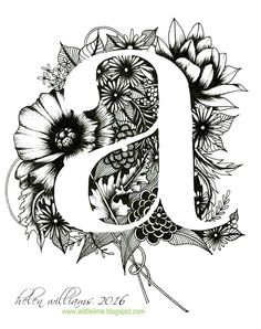 Playing kind of devil's advocate of my last selection the use of negative space to create the letter form is interesting with this design. I enjoy highly detailed floral designs and I think this is beautiful. Trendy Tattoos, Small Tattoos, Mise En Page Portfolio, Negative Space Tattoo, Plakat Design, Fancy Letters, Zentangle Patterns, Zentangles, Zen Art
