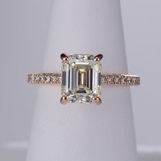 Stunning emerald cut rose gold engagement ring by Ritani
