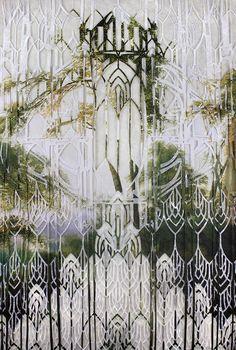 Sanctum 1 by Elise Wehle, Cut Paper Collage Paper Cutting, Cut Paper, Photo Transfer, Paper Artwork, Hangzhou, Urban Landscape, Daily Inspiration, Mixed Media Art, Sunrise