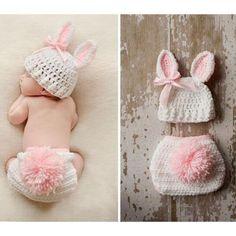 Newborn Baby Hand Made Rustic Easter Bunny Photo Prop w/ Carrot 3 piece Crochet Set Hat Pant / Diaper Cover & Carrot Infant 1st Photo Prop Easter Spring Rabbit