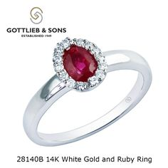 Your love is #red hot with this 14K White Gold Ruby and Diamond Ring. This classic ring features a center #ruby with a #diamond #halo. Visit your local #GottliebandSons retailer and ask for style number 28140B.
