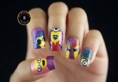 Minions nail art is now LIVE on A Positive Beauty blog! :) Come check out Minions dipped in glitter and glam.   #nailart #MinionsNailArt #Want2SeeWednesday