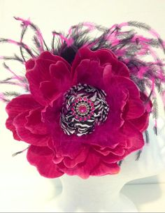 Hot Pink  Zebra Feather Flower Couture Headband/ Fascinator  by FancyGirlBoutiqueNYC