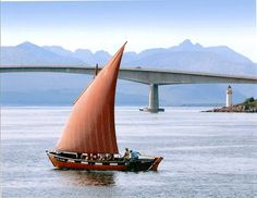 "Outer Hebridies traditional boat,  sgoth ""Niseach""  at Isle of Skye Bridge"
