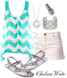 light blue zigzag shirt shorts and sandals. great summer outfit