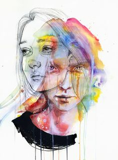 Agnes Cecile is the self taught artist behind this wonderful collection of watercolor portrait paintings. As well as watercolor she also uses acrylic, pen, ink and some Ap Studio Art, Art Watercolor, Watercolor Portraits, Studios D'art, L'art Du Portrait, Self Portrait Drawing, Self Portraits, Portrait Ideas, Agnes Cecile
