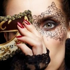 Sexy Fantasy Makeup Masks and Costumes ~ Catwoman makeup mask Ideas, Women's sexy Thief makeup mask, Black Lace fantasy makeup masks, Masquerade...