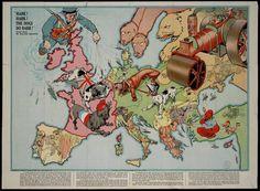 Сатирические карты Европы конца 19-го, начала 20-го века