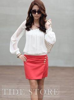 Fashionable Split Joint Long Sleeve Blouse