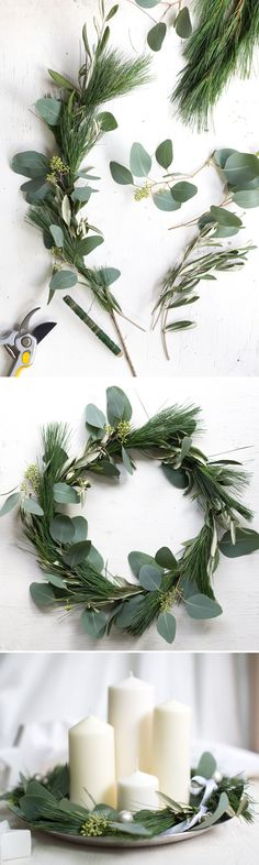 Adventskranz, simpel und pur, DIY Kranz binden Advent wreath, simple and pure, tie DIY wreath Natural Christmas, Christmas Mood, Noel Christmas, All Things Christmas, Christmas Wreaths, Christmas Crafts, Advent Wreaths, Minimal Christmas, Christmas Tables