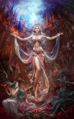 Fantasy artwork of the many faces of female.