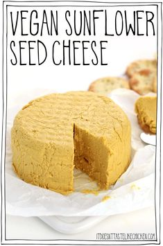 This nut-free vegan cheese is quick and easy to make with just 9 ingredients. Serve this vegan cheese with crackers or bread, spread on a sandwich, add to a salad, or use Recipes With Yeast, Nutritional Yeast Recipes, Dairy Free Recipes, Whole Food Recipes, Beef Recipes, Easy Recipes, Chicken Recipes, Healthy Recipes, Vegan Blue Cheese Recipe