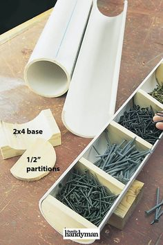 """PVC Hacks for the Workshop is part of Workshop storage - Transform scrap pieces of PVC pipe into storage sites for dowels and fasteners, courtesy of """"tipfull"""" reader Al Miller Workshop Storage, Workshop Organization, Shed Storage, Garage Workshop, Garage Storage, Tool Storage, Storage Ideas, Storage Solutions, Garage Organization"""