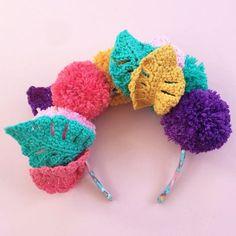 Crochet Monstera Leaf Pompom Crown - free pattern | Lottie & Albert