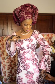 African bride in colorful wedding gown...Nigeria