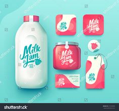 Set of milk and jam bottle, business card , label and badges