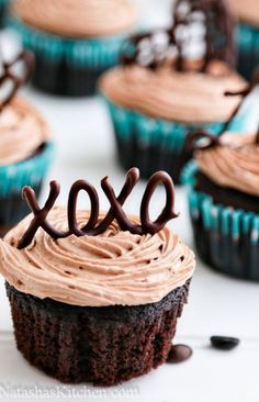 Moist Chocolate Cupcakes with Prague Frosting - like the chocolate deco