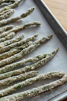 oven-baked asparagus fries — and folks, it's all done in the oven.