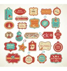 Xmas set - labels tags and decorative elements vector  - by ma_rish on VectorStock®