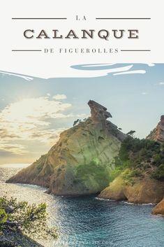 Tout près de la calanque du Mugel se cache la calanque de Figuerolles, jolie petite calanque aux couleurs merveilleuses. On y retrouve une roche qui forme une tête de chien d'un côté et une tête d'aigle de l'autre. L'eau est bleu turquoise, ça vaut le détour ! Road Trip France, Marseille France, Bleu Turquoise, Blog Voyage, Provence, Travel Inspiration, Water, Outdoor, Articles