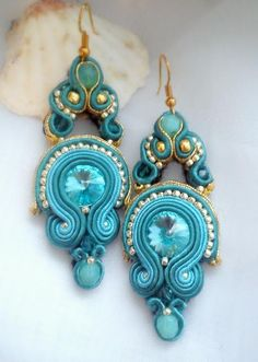 soutache blue aqua turquoise earrings swarovski aquamarina sutasz turkusowe kolczyki