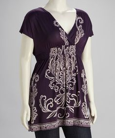 Take a look at this Purple & White Plus-Size Cape-Sleeve Tunic by Life and Style Fashions on #zulily today!