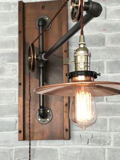 industrial pulley lamp large vintage by trishandtomvintageco