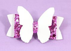 A Light Colored Faux Leather Fashion Accessories. Purple glitter vinyl has a french clip to attach to any little girl's hair, or and dog fur. Butterfly Hair, White Butterfly, Diy Headband, Baby Headbands, What Is Cute, Etsy Handmade, Handmade Gifts, Fashion Accessories, Hair Accessories