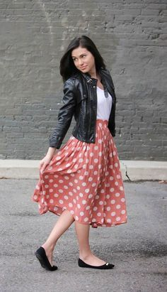 xomrsmeasom xo mrs measom xo, mrs measom polka dot skirt leather jacket midi skirt casual outfit Friday night outfit # Casual Outfits for work polka dots Midi Skirt Casual, Skirt Outfits Modest, Casual Skirts, Modest Dresses, Dress Outfits, Dress Up, Midi Skirts, Modest Clothing, Jean Skirts