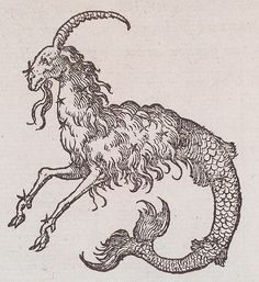 Medium woodblock Book Claude Paradin, chanoine de Beaujeu. Devises Heroïques. Lyon : Ian de Tournes et Guil Gazeau, 1557. Page 32. Notes Capricorne: one-horned goat with fish tail Theme Bestiary