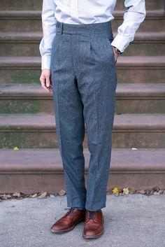 Gable Single-Pleat Trouser in Oxford Grey Flannel