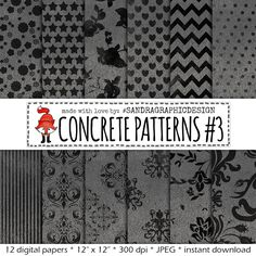 "New to SandraGraphicDesign on Etsy: 50% OFF - Concrete digital paper: ""CONCRETE PATTERNS"" with pretty patterns on concrete texture in grey and black (1088) (2.00 USD)"