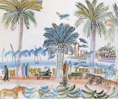 View of Suquet à Cannes - Raoul Dufy 1925French 1877-1953